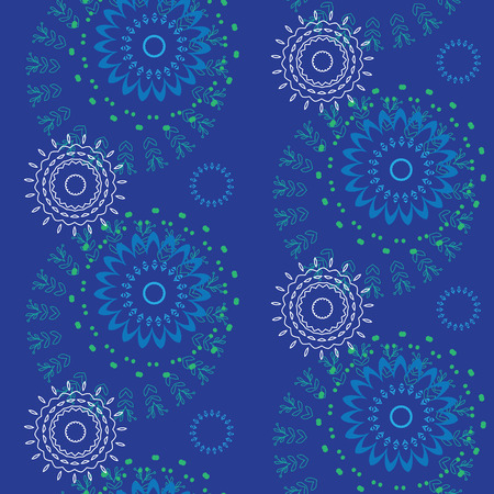 Abstract Seamless geometrical pattern with floral background Çizim