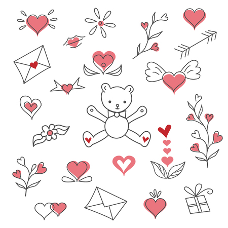 Valentines day vector clipart illustration. Çizim