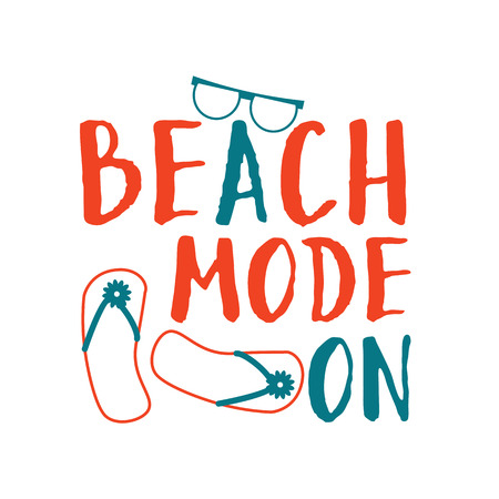 Summer lettering composition. Beach mode on. Çizim
