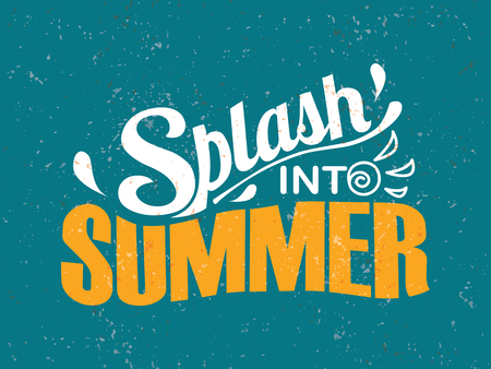 Splash into summer. Summer lettering composition Çizim