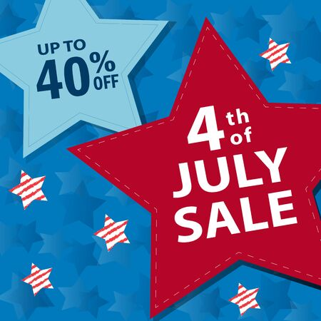 Fourth of July sale banner, vector
