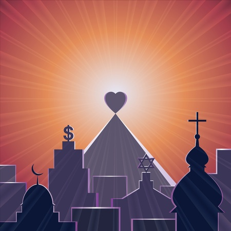 Love - the best of religions, vector illustration Stock Vector - 13241927