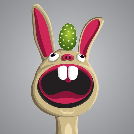 Easter funny bunny with egg on his head, vector Illustration
