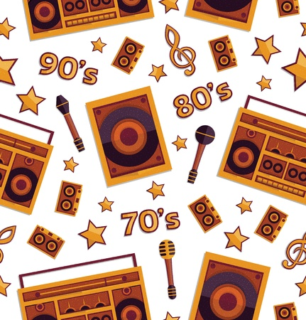 Retro music elements seamless pattern, vector, format eps10 Vector