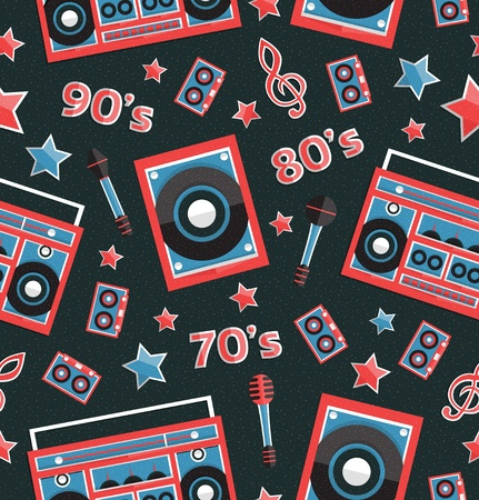Retro music elements seamless pattern, vector, format eps10
