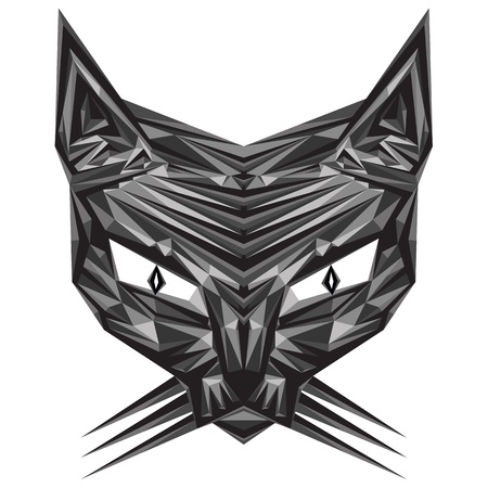 three cornered: Stylized vector illustration of mesmeric cat, format eps10 Illustration