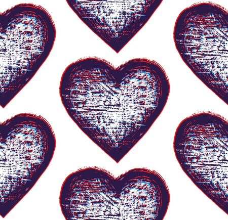 abstract backround: sketchy seamless pattern heart