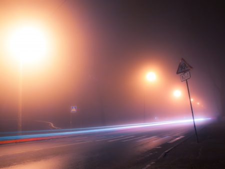 illuminate: Nightly and foggy street in autumn Kiev