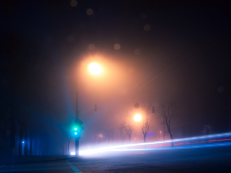 Night and foggy street in autumn Kiev Stock Photo