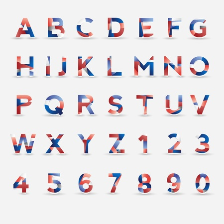 Flag Font. Great Britain, USA, France, Netherlands and Russia colors  Vector