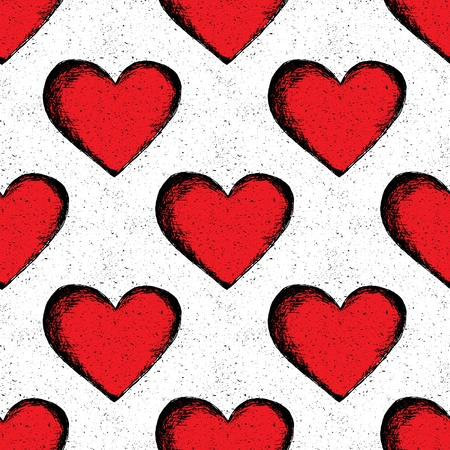 Vector seamless pattern hearts. Abstract background. Vintage pattern. Abstract wallpaper. Valentines Day postcard. Freehand drawing  Vector