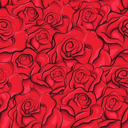 Vintage roses seamless pattern. Sketchy Illustration. Abstract background. Blumen-Muster. Retro-Muster. Freihandzeichnen Standard-Bild - 15935722