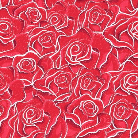 Vintage roses seamless pattern. Sketchy illustration. Abstract background. Flowers pattern. Retro pattern. Freehand drawing. Paper, cutout, applique, origami  Vector
