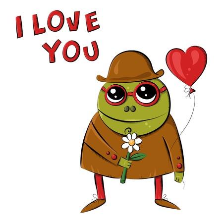 shyness: Vector funny monstrer. Postcard. I love You. Sketchy illustration. Vector background. Conterporary art. Street art. Valentines Day. Holidays background. Declaration of love Illustration