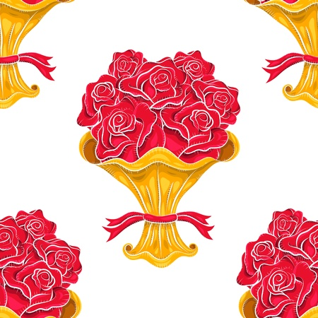 Vintage vector roses bouquet seamless pattern. Sketchy illustration. Abstract background. Flowers pattern. Retro pattern. Freehand drawing. Old style. Retro design. Vintage art Vector