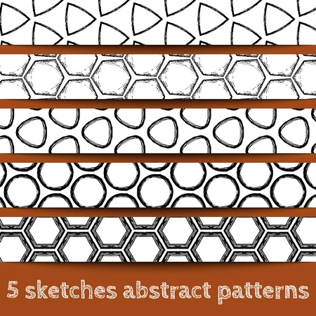 Set of sketches geometric seamless patterns. Sketchy illustration. Sketchy background. Hand drawn. Vector, format eps10 Stock Vector - 16213056