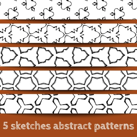 Set of sketches abstract seamless patterns. Sketchy illustration. Sketchy background. Hand drawn. Vector, format eps10 Stock Vector - 16213091