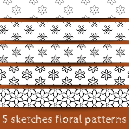 Set of sketches floral patterns. Sketched flower. Sketchy illustration. Sketchy background. Hand drawn. Vector, format eps10 Stock Vector - 16213135