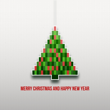 Paper Christmas tree  Christmas background  Christmas card  Happy New Year  Paper texture  Christmas origami  Christmas postcard Vector