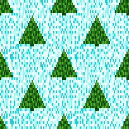 Pixel seamless pattern with Christmas trees  Seamless background  Pixel art  Winter background Vector