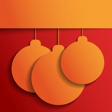 Orange Christmas balls on red  Christmas and Happy New Year background  Paper texture  Paper origami  Holiday background Vector