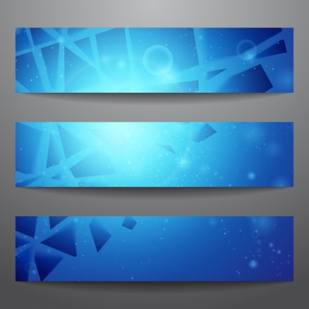 Vector web banners  One, two, three  Presentation slide template  Abstract background  Business background  Technology background  Business card  Glowing background  Blue background Stock Vector - 16540420