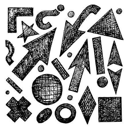 elipse: Sketches Jogo do vetor esbo�ou objetos corne, carrapato, estrela, seta, ponto, ponto de exclama��o, ponto de interroga��o, elipse, bola, anel, losango, tra�o, cruz, quadrado, tri�ngulo, til Ilustra��o
