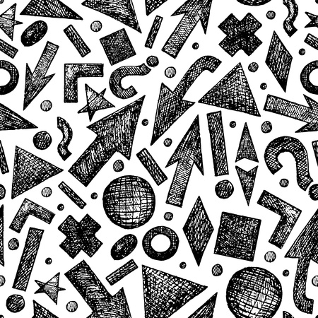 Vector seamless pattern with sketchy objects Ilustração
