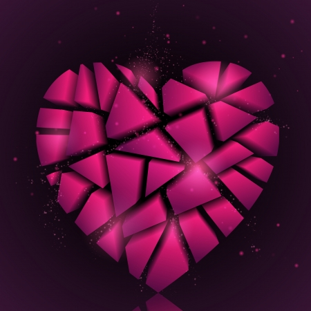 pink heart: Broken heart  Abstract vector background  Pink heart  Valentines day background  Holiday background