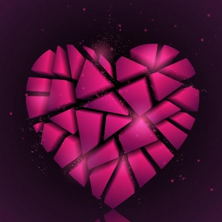 Broken heart Abstract vector background corazón rosa de San Valentín día de fondo Holiday fondo