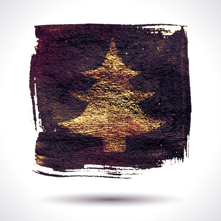christmas watercolor: Grunge christmas  Christmas background  Christmas tree  Grunge label  Abstract  Hand drawn  Holiday background  Abstract shape