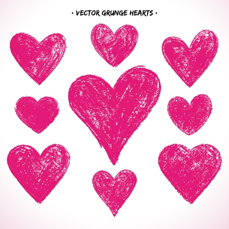 Set of grunge  hearts