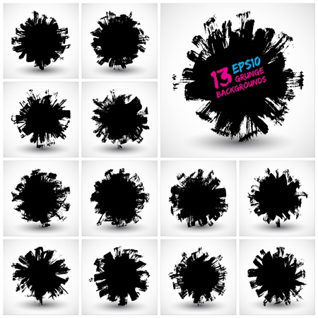 Set of grunge  backgrounds  Grunge shape  Round shape   banners  Abstract shapes   collection  Grunge art  Retro background  Vintage background  Design elements Stock Vector - 18983034