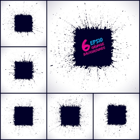 Set of grunge  backgrounds  Grunge splashes  Square shape   banners  Abstract shapes  V collection  Grunge art  Retro background  Vintage background  Design elements  Hand drawn Stock Vector - 18983031