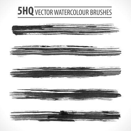 watercolor smear: Set of watercolor brushes