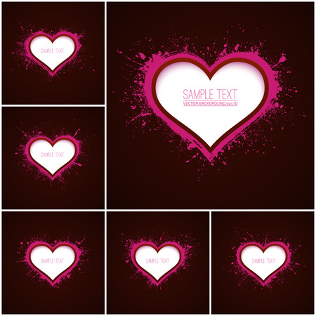 Set of 6 vector abstract backgrounds with hearts. Paper heart. Vector