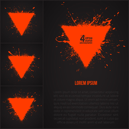 Set of 4 vector grunge abstract backgrounds. Triangle background. Dark background. Orange background. Retro background. Warning sign Vector