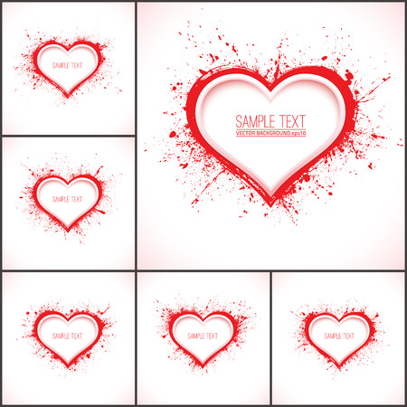 Set of 6 vector abstract backgrounds with hearts. Vector