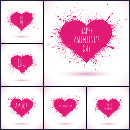 Set of grunge vector hearts. Design elements. Retro background. Vintage background. Valentine background. Abstract background. Hand drawn. Grunge heart. Abstract shape Vector