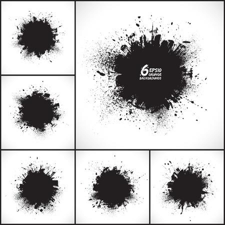 6 ベクトル抽象的なグランジの背景を設定します。グランジの図形です。ラウンド形状。デザイン要素です。ビンテージ背景。手描き  イラスト・ベクター素材