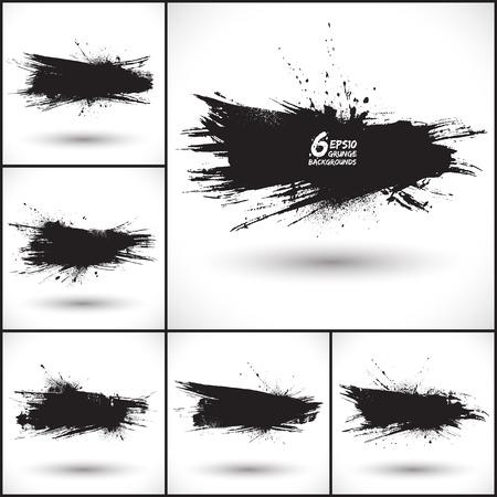 6 ベクトル抽象的なグランジの背景を設定します。グランジの図形です。Web バナー。デザイン要素です。ビンテージ背景。手描き  イラスト・ベクター素材
