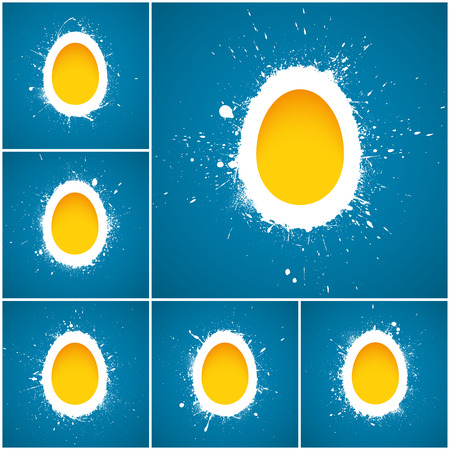 Set of 6 Happy Easter vector background. Happy Easter greeting card. Vector illustration. Abstract vector art. Egg background. Retro background Vector