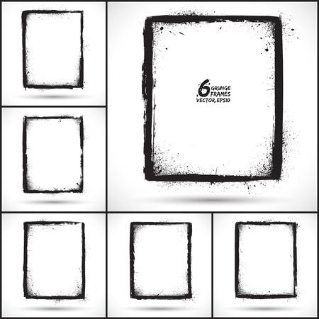 Set of grunge 6 vector frames.  Vector