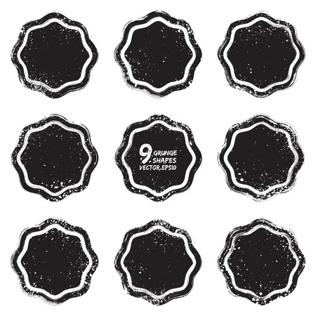 Set of 9 grunge abstract textured vector badges Vector