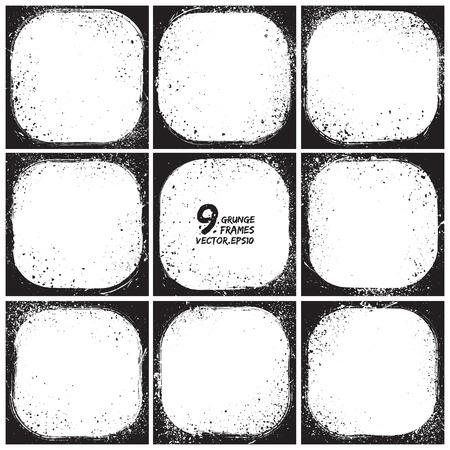 Set of grunge 9 vector frames   Vector