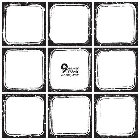 slides: Set of grunge 9 vector frames
