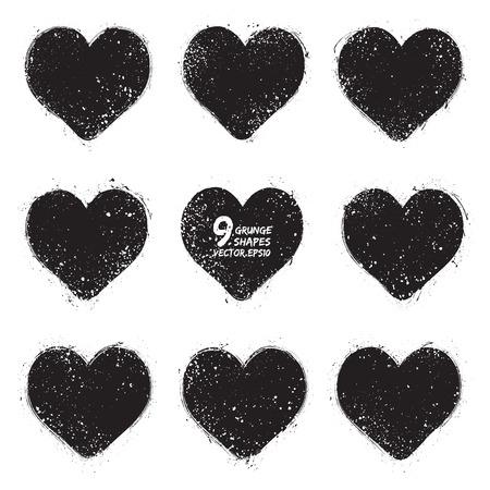 Set of grunge vector hearts