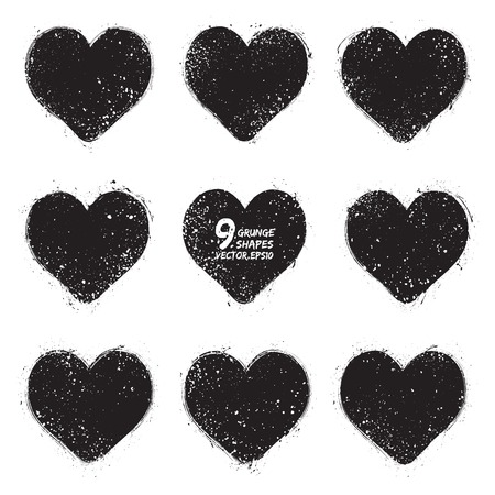 Set of grunge vector hearts  Vector