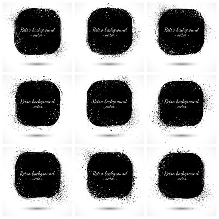 Set of 9 grunge abstract vector retro backgrounds   Vector
