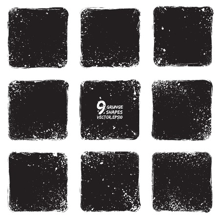 hand torn: Set of 9 grunge vector textured shapes